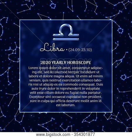 Libra Astrology Horoscope Prediction For 2020 Year. Luminous Zodiac Signs On Blue Background. Libra