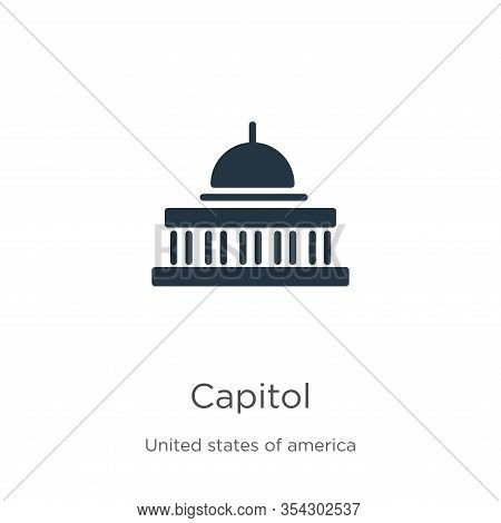 Capitol Icon Vector. Trendy Flat Capitol Icon From United States Collection Isolated On White Backgr