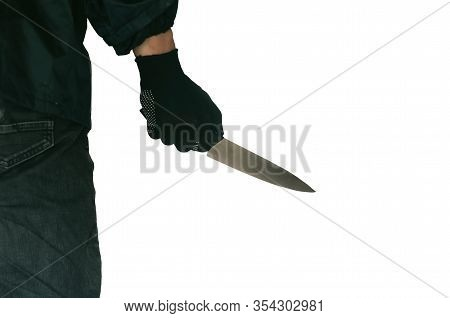 Stabbing Attack, Killer Holding Knife Close-up On Isolated White Background