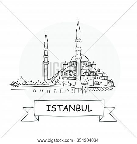 Istanbul Cityscape Vector Sign. Line Art Illustration With Ribbon And Title.