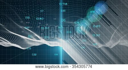 Abstract Futuristic Concept Of Predictive Analyze Data  Flow. Quantum Virtual Cryptography. Business