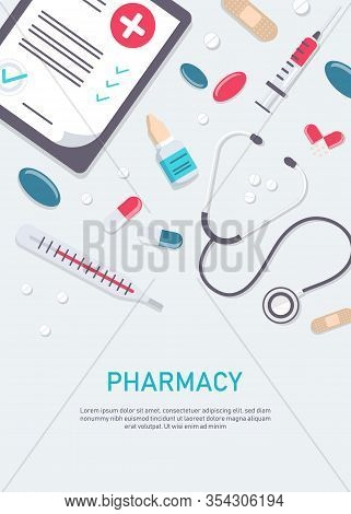 Big set of medical equipment and pharmacy. Medicine vector illustration. Pharmacy background, pharmacy desing, pharmacy templates. Medicine, pharmacy, hospital set of drugs with labels. Medication, pharmaceutics concept. Different medical pills and bottle