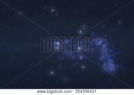 Ara Constellation In Outer Space. Altar Constellation Stars On Night Sky. Elements Of This Image Wer