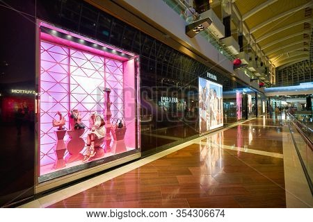 SINGAPORE - JANUARY 20, 2020: Prada storefront in the Shoppes at Marina Bay Sands
