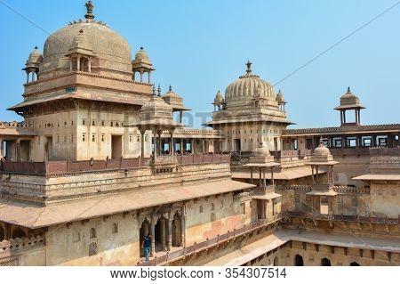 Orchha, Madhya Pradesh, India - March 04, 2020: Jahangir Mahal (orchha Fort) In Orchha, Madhya Prade