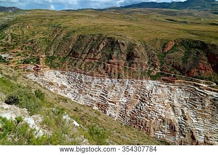 Salineras De Maras, Incredible Salt Mines In The Canyon Of The Sacred Valley Of The Incas, Cusco Reg