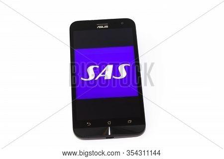 Kouvola, Finland - 23 January 2020: Sas App Logo On The Screen Of Smartphone Asus