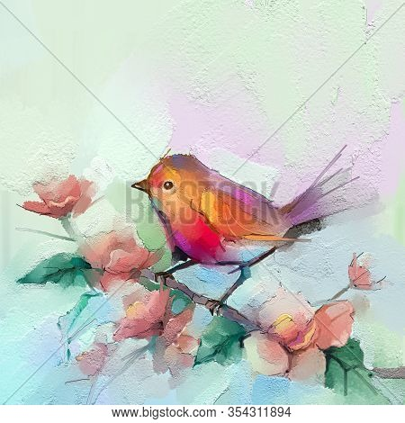 Abstract Colorful Oil, Acrylic Painting Of Bird And Spring Flower. Modern Art Paintings Brush Stroke