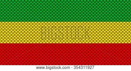 Rasta Seamless Pattern. Rastafarian Horizontal Flag, Vector Illustartion