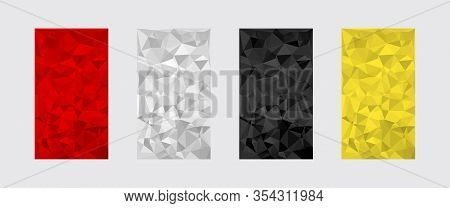Set Of Colorful Textures. Red, White, Black, Yellow. Low Poly Digital Triangle Shapes Geometric Patt