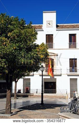 Estepa, Spain - November 13, 2008 - Plaza Del Carmen With The Town Hall (ayuntamiento) To Rear, Este