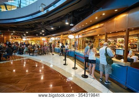 SINGAPORE - JANUARY 20, 2020: a food court in the Shoppes at Marina Bay Sands