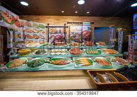 SINGAPORE - JANUARY 20, 2020: food on display at a food court in the Shoppes at Marina Bay Sands