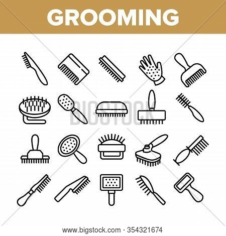Grooming Brush For Pet Collection Icons Set Vector. Grooming Care Accessory In Different Form, Anima