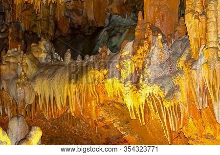 Stalagmites And Stalactites In A Cave, Turkey