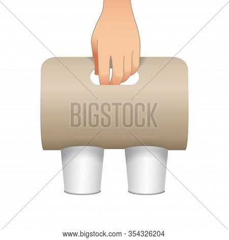 Coffee Cup Carton Holder Mock Up With A Human Hand. Vector Paper Pack Holder Mockup. Front View. Cof