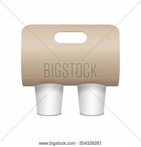 Coffee Cup Carton Holder Mock Up. Vector Paper Pack Holder Mockup. Front View. Coffee Cup Holder Tak