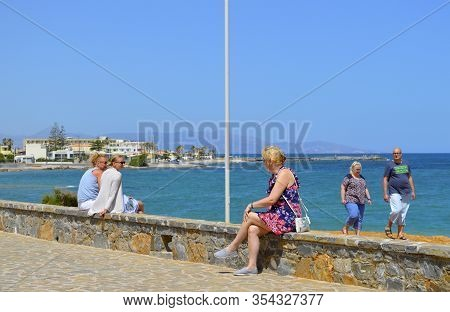 Gouves, Crete, Greece - June 2, 2019 : Tourists On Gouves Coast In Crete The Largest And Most Popula