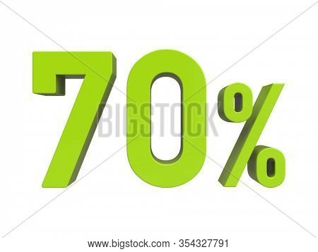 3d Render: ISOLATED 70% Percent Discount 3d Sign on White Background, Special Offer 70% Discount Tag, Sale Up to 70 Percent Off, Seventy Percent Letters Sale Symbol, Special Offer Label