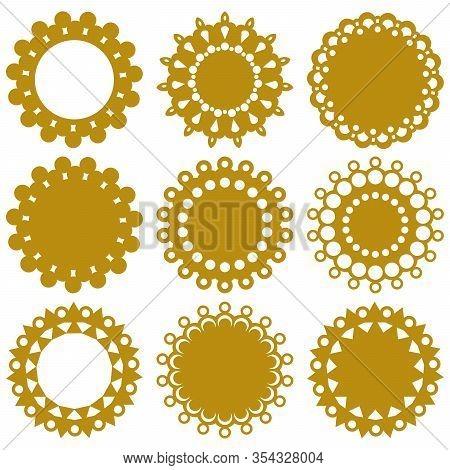 Digital Doily Lace Templates. Monochrome Vector Designs For Decorative Elements.