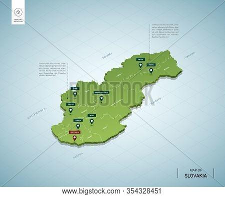 Stylized Map Of Slovakia. Isometric 3d Green Map With Cities, Borders, Capital Bratislava, Regions.