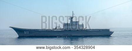Chonburi, Thailand - December 25, 2019 : Htms Chakri Naruebet (cvh-911) Aircraft Carrier Of Royal Th