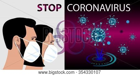 Coronavirus On A Futuristic Background. Masked People Protect Themselves From Infection. A Deadly Ty