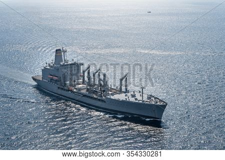 Andaman Sea, Thailand - April 9, 2019 : Usns Guadalupe (t-ao-200), Henry J. Kaiser-class Underway Re