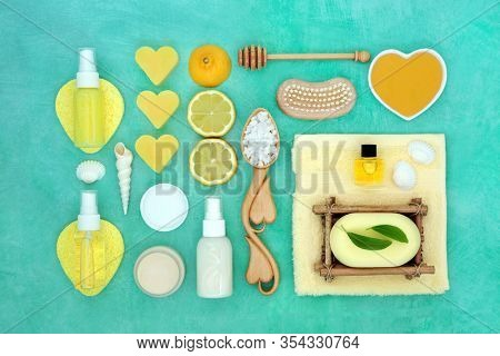 Beauty treatment for skincare with lemon fruit & cleansing products including moisturising cream  lotion, oil, gel, soap & ex foliation salts. ation salts.