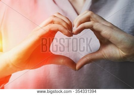 Heart Shape Hand Sign, Young Woman Making Heart With Two Hands
