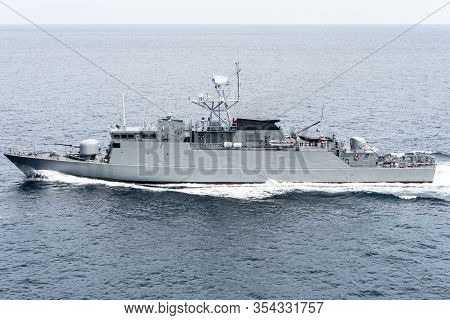 Modern Patrol Navy Ship Sails In The Sea During Territory Patrol Mission.peace Keeping Operation Sea