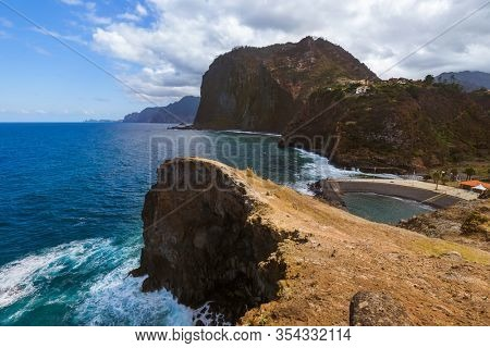 Coast in town Faial - Madeira Portugal - travel background