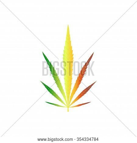 Cannabis Plant Isolated On White Background. Realistic Marijuana Leaf. Marijuana Leaf In Color The F