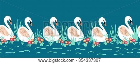 Swans Seamless Vector Border. Swan Lake Repeating Design.