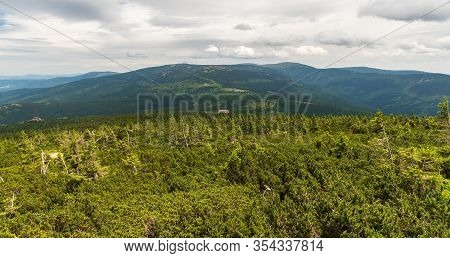 Krkonose Mountains Scenery From Divci Kameny On Czech-polish Borders During Cloudy Summer Day