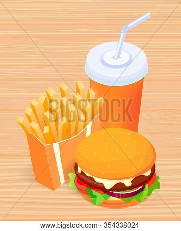 Vector Illustration Of Isometric Food - Burger, French Fries And Cola On Wooden Table