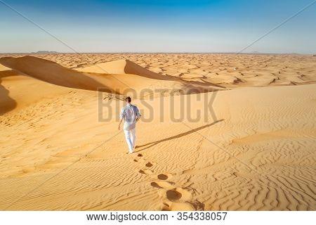 Dubai Dessert Sand Dunes, Couple On Dubai Desert Safari, United Arab Emirates, Men On Vacation In Du
