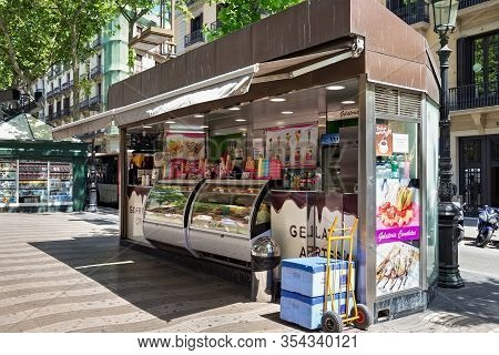 Barcelona, Spain - May 16, 2017: Stand With The Different Ice Creams On The Famous Pedestrian Street