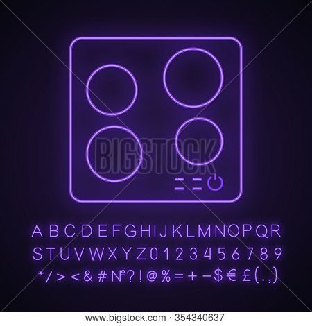 Electric Induction Hob Neon Light Icon. Cooktop. Cooking Panel, Surface. Induction Stove Or Built In