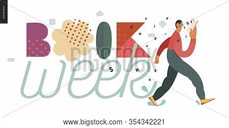 World Book Day Graphics -book Week Events. Modern Flat Vector Concept Illustrations Of Reading Peopl