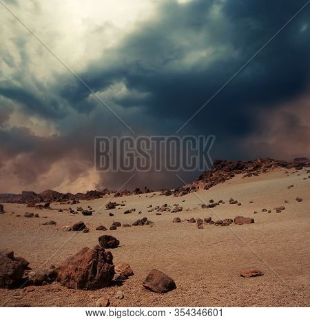 Illustration Of A Vast Dust Storm Approaching On Rocky Planet Mars Landscape.