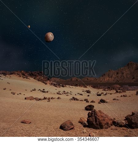 Illustration Of Moons Phobos And Deimos In The Sky Of The Planet Mars Rocky Landscape.