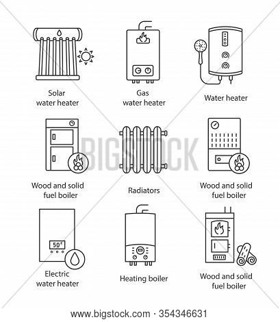Heating Linear Icons Set. Boilers, Radiators, Water Heaters. Gas, Electric, Solid Fuel, Pellet, Sola