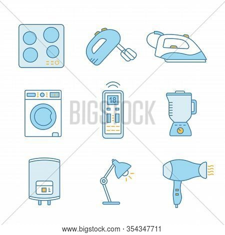 Household Appliance Color Icons Set. Cooktop, Handheld Mixer, Steam Iron, Washing Machine, Remote Co