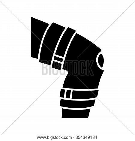 Knee Brace Glyph Icon. Adjustable Leg Orthosis. Silhouette Symbol. Orthopedic Knee Joint Bandage. Ar