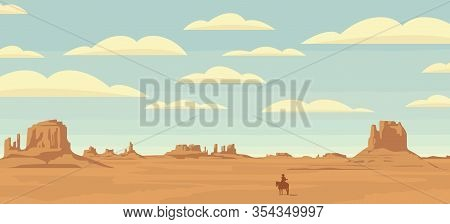 Vector Landscape With A Lone Rider In The Desert. American Prairies And The Silhouette Of A Cowboy O