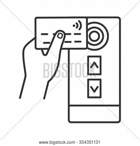 Nfc Credit Card Reader Linear Icon. Nfc Public Transport Payment. Thin Line Illustration. Rfid Door