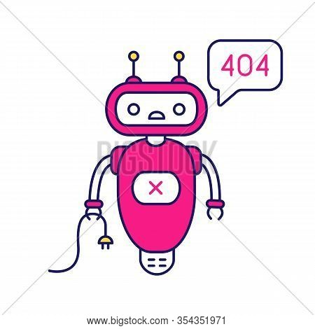 Not Found Error Chatbot Color Icon. Talkbot With Error 404 In Chat Box. Website Error Page Online As