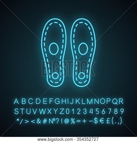 Orthopedic Insoles Neon Light Icon. Arch Support. Orthotic Insoles. Glowing Sign With Alphabet, Numb