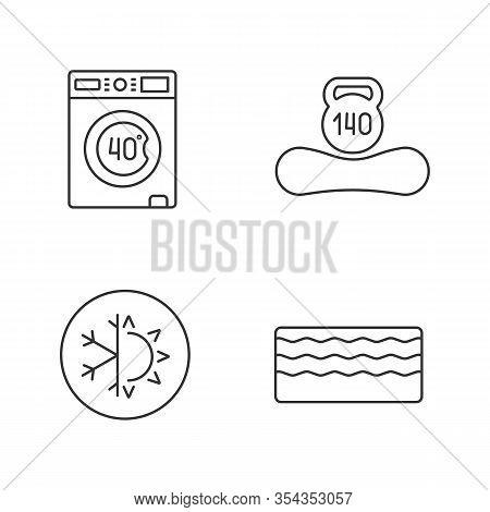 Orthopedic Mattress Linear Icons Set. Machine Washable, Dual Season, Memory Foam Mattress, Weight Li